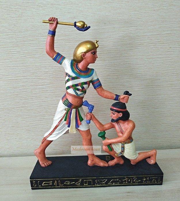 點點蘑菇屋 歐洲進口彩繪古埃及士兵打仗擺飾 埃及文明 古文 圖騰 Egypt 藝術 家飾 現貨
