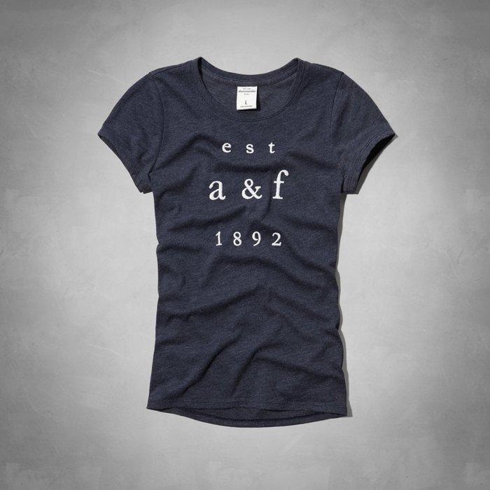 Maple麋鹿小舖 abercrombie&fitch * a&f 女童款深藍色電繡字母短T-shine tee