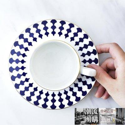 北歐咖啡杯骨瓷描金英式靛藍銀杏下午茶杯簡約餐具套裝【潮流團購】