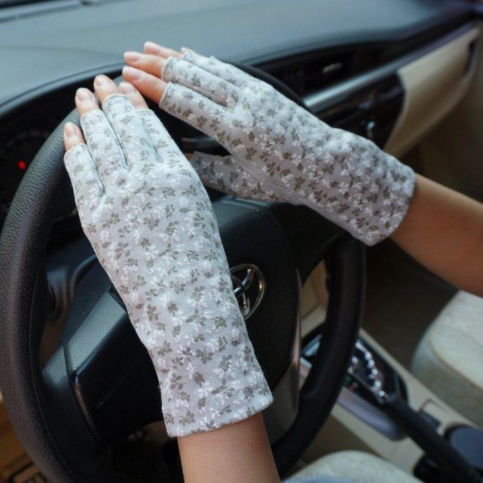 福福百貨~薄款女士夏季純棉提花蕾絲防曬防紫外線吸汗開車防滑觸屏半指手套~