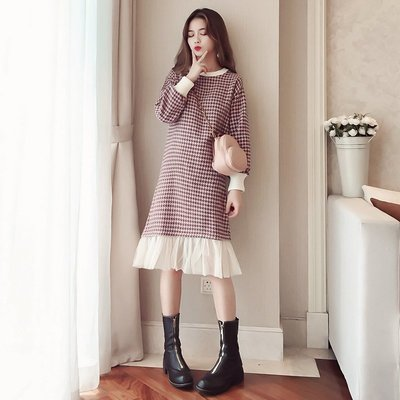 【A107120113】韓版 千鳥格毛呢拚接網紗洋裝(2色)預購~TTshop