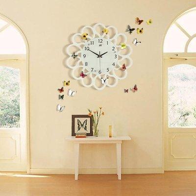 哆啦本鋪 歐式創意鐘錶掛鐘客廳簡約現代田園石英鐘個性臥室時鐘掛錶超靜音D655