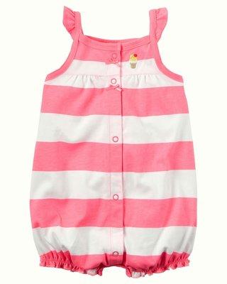 carter's 螢光粉色白條連身衣 現貨24m