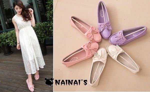 【NAINAIS】beauty 美鞋‧6533 韓版 學院風蝴蝶結流蘇軟底單鞋豆豆鞋娃娃鞋 3色35-39預