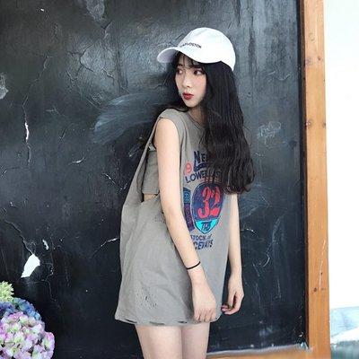 韓國港味學生軟妹無袖上衣女BF潮寬式中長款背心夏白色t恤