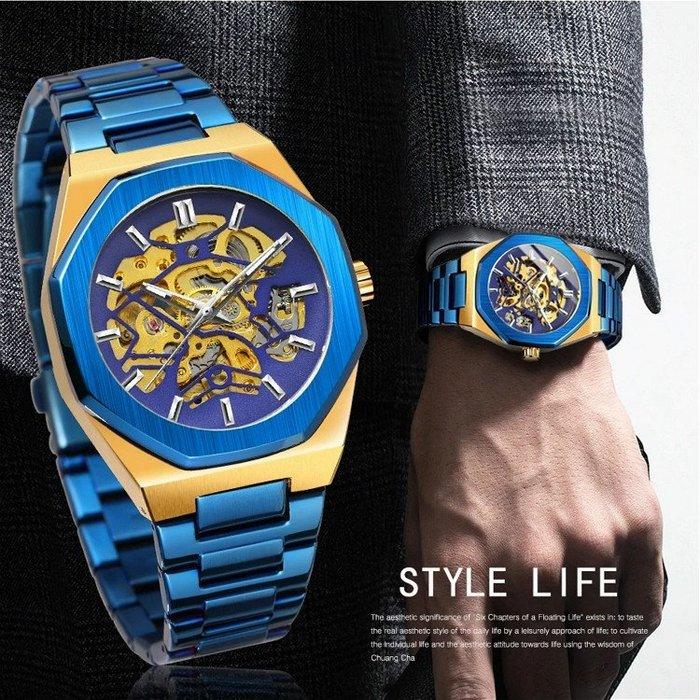FORSINING 正品  歐美風鏤空骨架多邊形面盤 自動機機械錶 個性型男鋼帶錶 【S & C】柒時尚