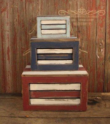 【優上精品】美式鄉村家居裝飾擺件地中海風格復古三件套木箱收納箱置物箱(Z-P3225)