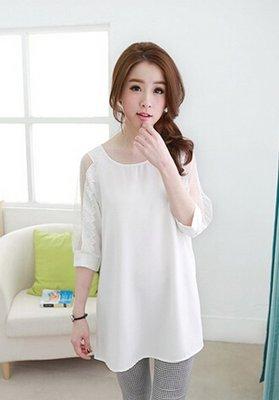 品名: 網紗緹花袖後綁結棉衫白色) J-11034