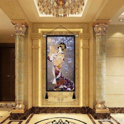 百樂美商城 和風日式布藝歌姬掛畫掛布玄關走廊裝飾布畫無框畫客廳床頭背景墻