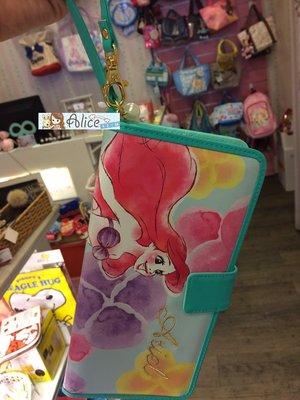 ☆愛莉詩☆日本迪士尼美人魚簡易拉鏈卡夾附提帶~現貨~
