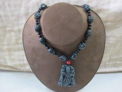 二手舖 NO.3049 天然玉石 和闐玉項鍊 巧雕關聖帝君 關公 墨綠 首飾飾品