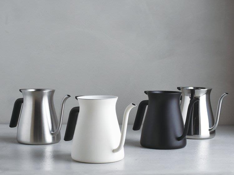 日本【KINTO】FARO 不鏽鋼咖啡壺 手沖壺 細口壺 滴水壺 900ml - 白、不銹鋼