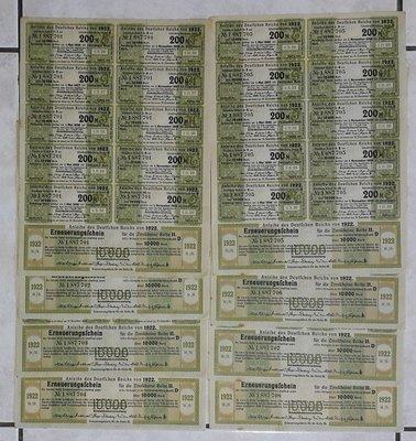 【~維軒小舖~文獻】1922年,德國債劵連號八張,有水印及鋼印, 品相如圖