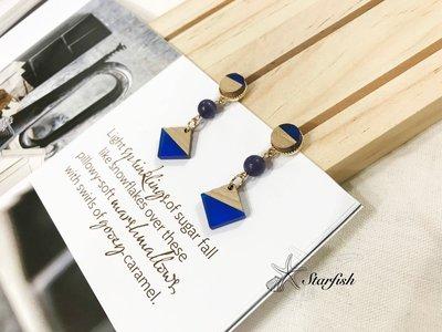 【海星 Starfish】|925銀針|時尚清新系異材質幾何搭配造型耳環