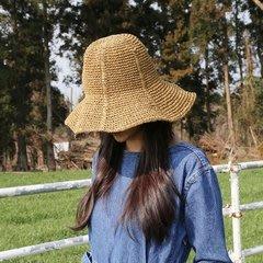 手工勾針草帽 夏天防曬盆帽 可折疊 漁夫帽 藤編帽子 沙灘帽 遮陽帽 旅行
