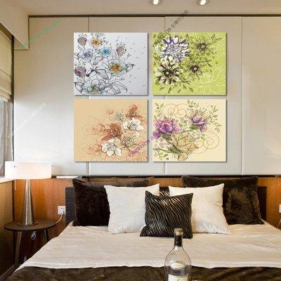 【50*50cm】【厚0.9cm】經典花系-無框畫裝飾畫版畫客廳簡約家居餐廳臥室牆壁【280101_312】(1套價格)