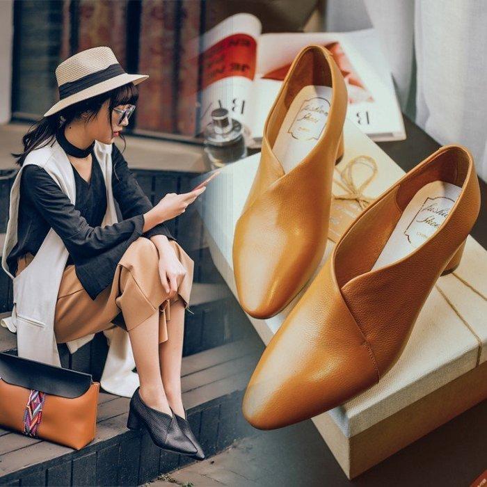 Hot shop 歐美風裏外全皮粗跟深口女鞋 真皮小方頭中跟單鞋