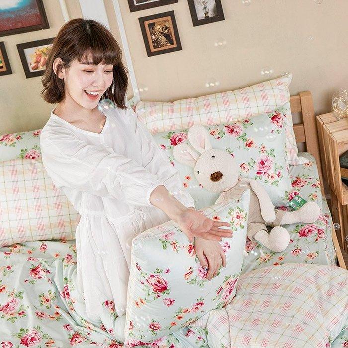 床包被套組 / 雙人【玫瑰粉格】含兩件枕套  100%精梳棉  戀家小舖台灣製AAS212