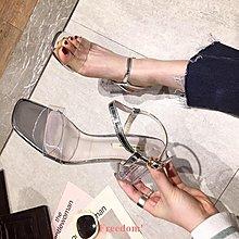 Freedom~女鞋2019夏季新款高跟鞋百搭仙女風一字扣帶粗跟透明跟簡約網紅涼鞋女