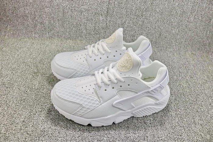 Nike Air Huarache 全白 百搭 網面透氣 武士 慢跑鞋 男女鞋 318429-111