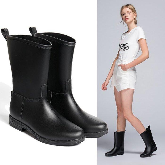 999時尚雨靴中筒雨鞋女成人水鞋冬天防水套鞋防滑水桶鞋膠鞋水靴YC0310