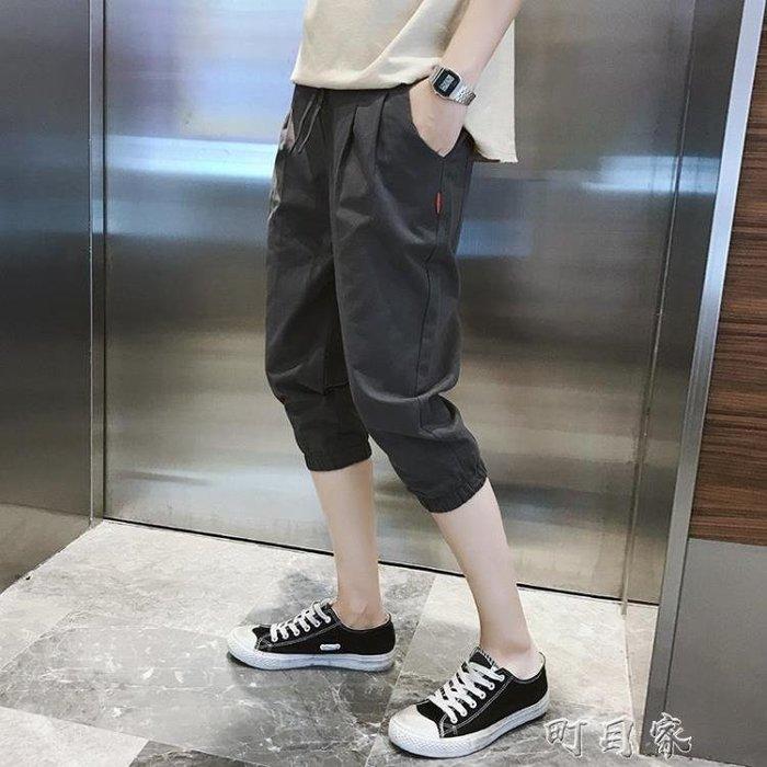 夏季男士七分褲時尚韓版潮流收口窄管馬褲青少年繫帶短褲
