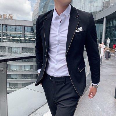 【時尚先生男裝】秋裝新款西服套裝男士時尚鑲邊西裝兩件套商務休閑免燙西服套裝潮韓版西裝 修身西裝 整套西裝 西裝褲 西裝外套正式西裝A0039