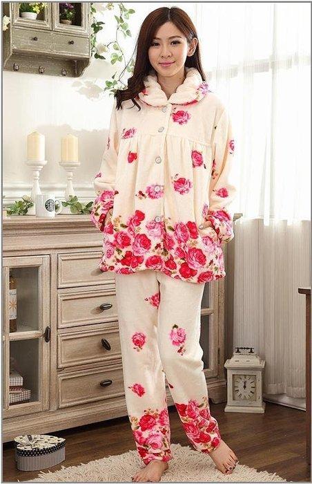 粉紅玫瑰精品屋~冬季法蘭絨水貂絨玫瑰二件套長袖睡衣~現貨+預購