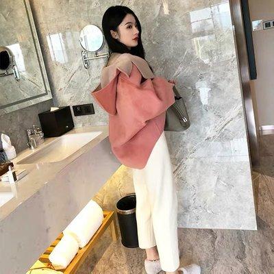 [ ohya梨花 ] =韓國帶回=最新秋冬新款名媛休閒穿搭溫柔小女人粉紅色毛呢連帽造型短大衣外套