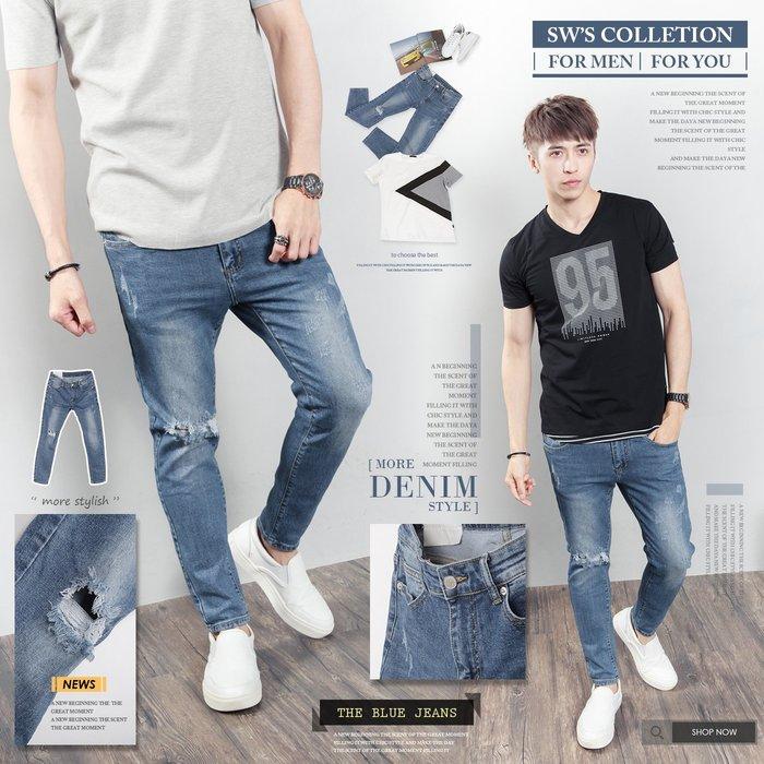 。SW。【K91628】韓GF 修身顯瘦 藍白刷紋 抽鬚破壞 磨痕 窄版 挺實彈性單寧布 牛仔單寧褲 英倫GD