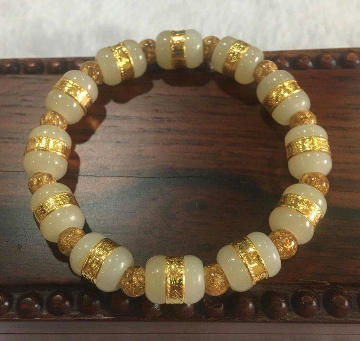 珍奇翡翠珠寶首飾-和田玉金鑲玉手鍊,賣家設計款,這批品質非常好,顆顆油潤光亮,高品質很優,附證書