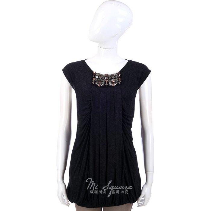 米蘭廣場 CLASS roberto cavalli 深灰色串珠飾抓褶短袖上衣 1340029-11