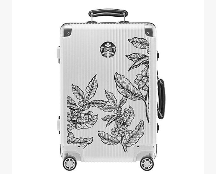 天使熊雜貨小舖~星巴克STARBUCKS 星巴克黑白行李箱  全新現貨