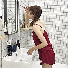 Jomi日系 絲般順滑兩件式家居/睡衣套裝 ~緞面仿真絲吊帶背心+短褲*5色預購【JA13-AO4287】