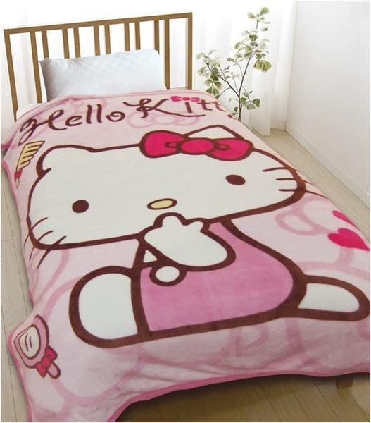 GIFT41 4165本通 三重店 凱蒂貓 HELLO KITTY 亮金紡絨毯 床毯 車用毯
