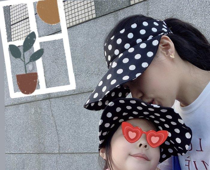 ??♀️夏現貨✨母女遮陽帽 兒童女童 波點 空頂帽 條紋帽 圓點 格子帽棋盤格帽 可捲摺疊軟沿帽 女生帽 姐妹帽子