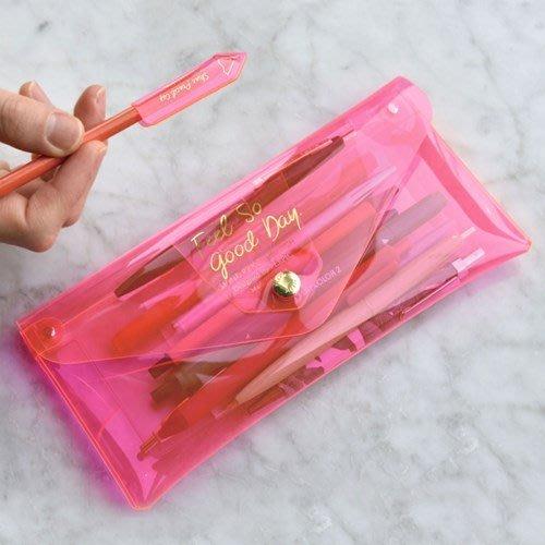 ♀高麗妹♀韓國 PLEPIC PENCIL CLUTCH 沁涼果凍 大容量透明筆袋.手拿包/彩粧筆.化粧包(7色選)預購