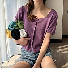 Maisobo 韓 春夏 簡約單排扣方領短袖針織衫 6色 TO2-127 預購