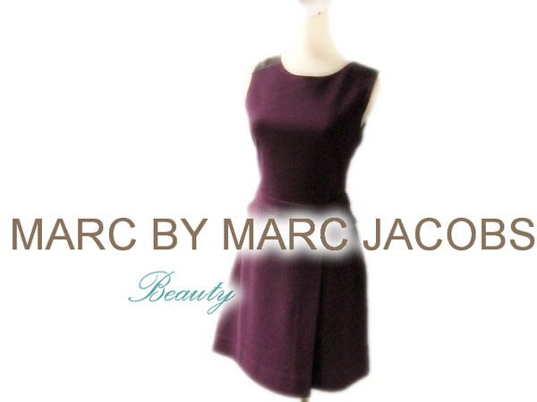*Beauty*MARC BY MARC JACOBS紫色皮革拼接洋裝 XSWE14