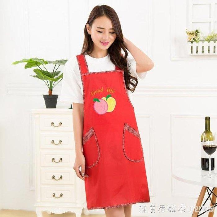 三清圍裙廚房防水圍裙韓版時尚罩衣圍腰廚房圍裙袖套可
