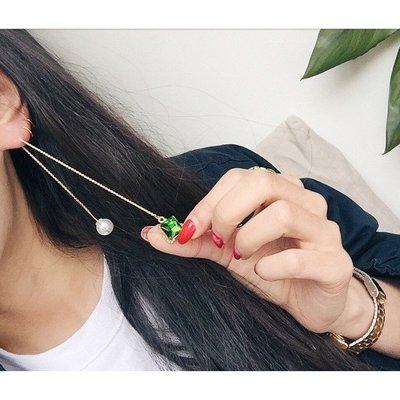 定制原創日本韓國祖母綠珍珠玻璃寶石精緻歐美風耳線