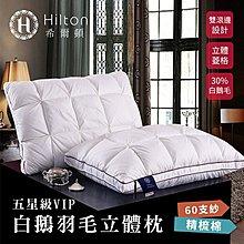 【Hilton 希爾頓】五星級VIP。白鵝羽毛輕柔精梳棉立體枕(B0952-A)