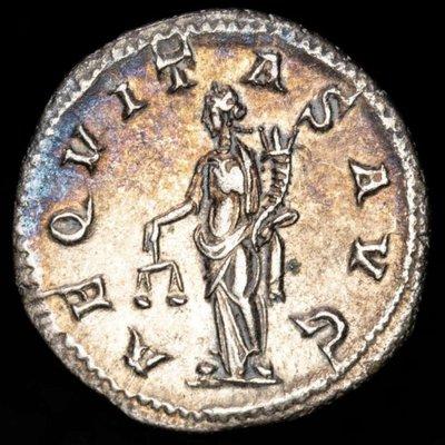 【閒雲雅士】古羅馬銀幣 (#8) — Gordian III / Aequitas (1780年歷史古銀幣) 有保證書