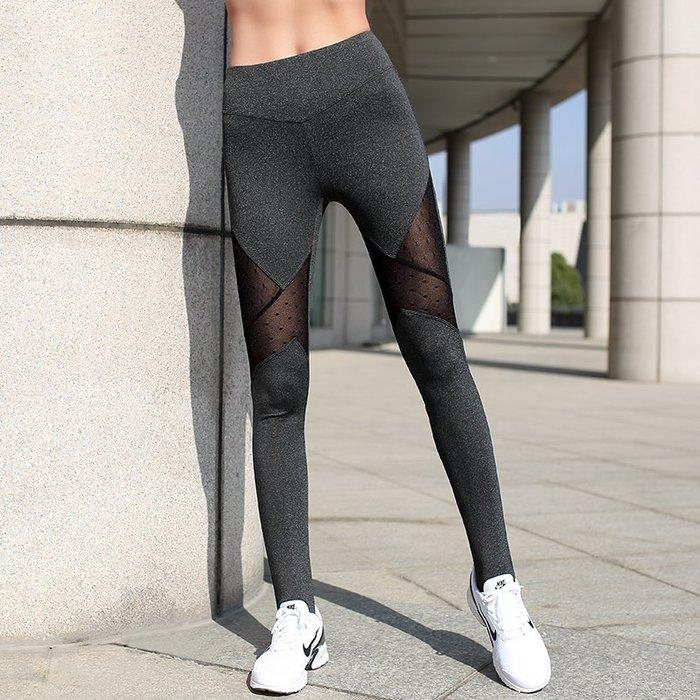 健身服 健身馬甲 速乾服 運動服 跑步服 踩腳網紗瑜伽褲修身彈力透氣速干緊身運動健身褲顯瘦