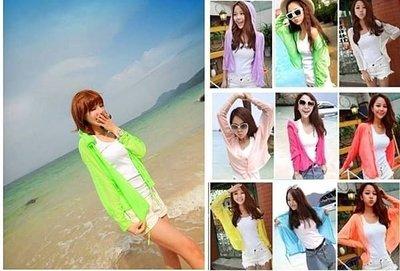 ☜shop go☞【E31】(批發)夏日彩色超薄細針織小外套罩衫 長袖防曬衣 超涼感 鈕扣外套 9色