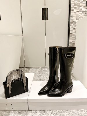 新款JC側拉鏈口袋長靴 真皮中跟粗跟不過膝騎士靴 防水臺高筒靴~妖精館