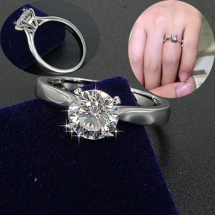 特價出清1克拉鑽戒卡家4爪鑲鑽石戒指簡約求婚 結婚 情人節禮物925純銀包厚白金媲美真鑽不退色高碳仿真鑽包裝精美莫桑鑽寶