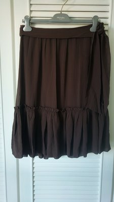 BCBG 咖啡色純絲荷葉裙擺圓裙