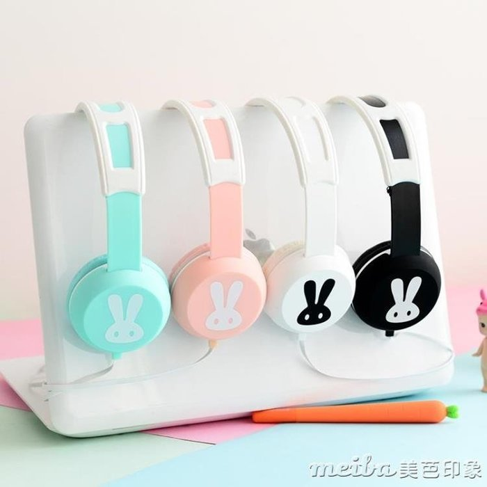 sibyl EX02卡通兔子頭戴式耳機線控帶麥可愛女生音樂耳麥手機通用