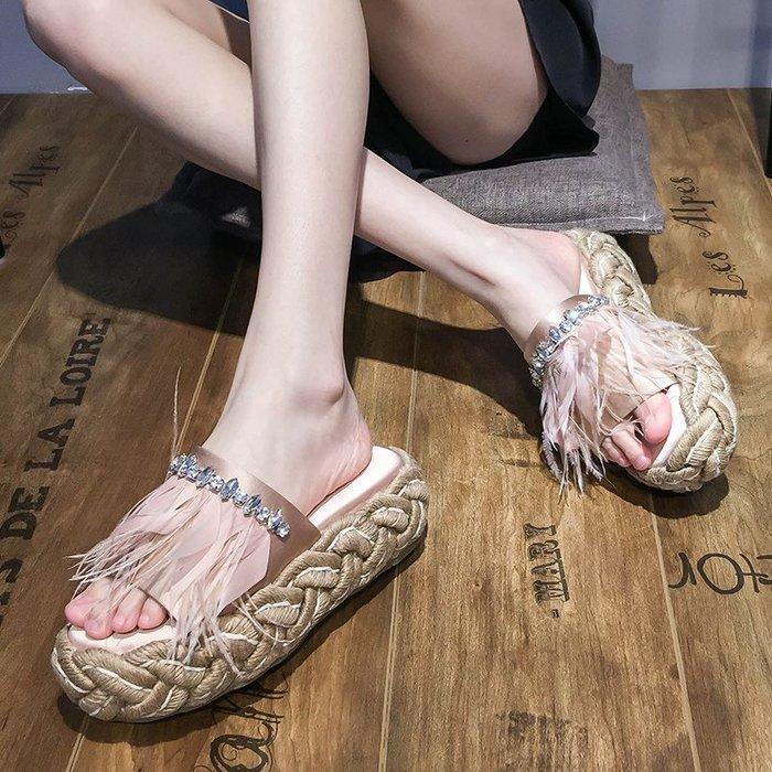 ~Linda~2019夏季新款女鞋休閒水鑽涼拖松糕厚底一字外穿時尚拖鞋潮